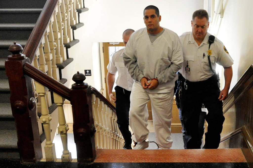 . David T Chalue Is led into Berkshire Superior Court to be arraigned on multiple charges, including murder, Wed Oct 12, 2011 (GARVER)