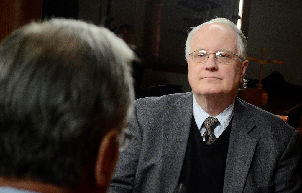 . Jim Madigan of WGBY interviews Dan Bianchi at Hacock Shaker Village, Wednesday March 5, 2014. Ben Garver / BerkshireEagle Staff / photos.berkshireeagle.com