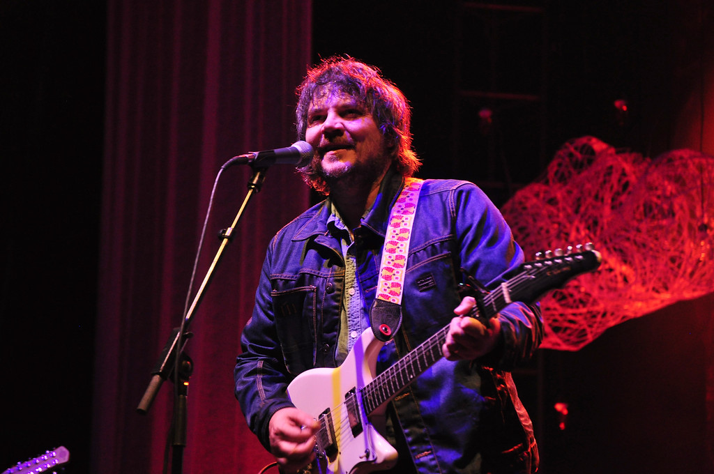 . Jack Guerino/ North Adams Transcript Jeff Tweedy, singer and bass guitar player for Wilco, performs on the main stage at the Solid Sound Festival Saturday night.