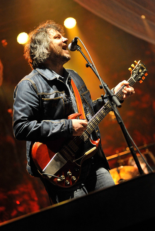 """. Wilco frontman Jeff Tweedy sings \""""The Boys Are Back In Town\"""" when opening an all covers set Friday at the 2013 Solid Sound Festival at MASS MoCA in North Adams, Mass. The evening\'s highlights included The Beatles\' \""""And Your Bird Can Sing\"""" and Dylan\'s \""""Simple Twist of Fate.\"""" (Peter Crabtree/Bennington Banner)"""