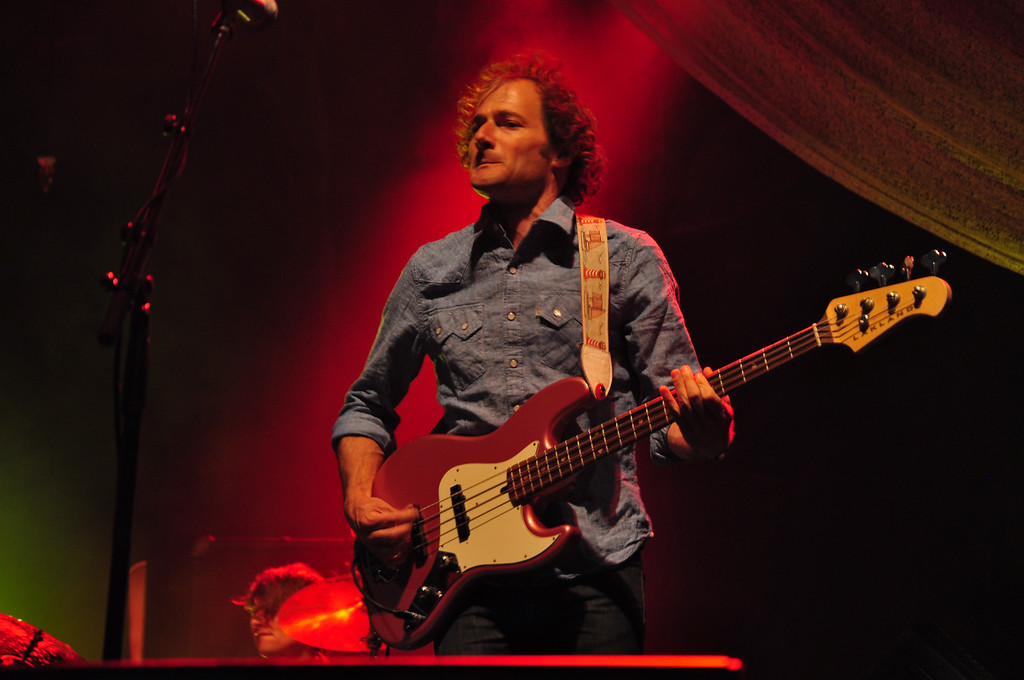 . Jack Guerino/ North Adams Transcript John Stirratt, singer and bass guitar player for Wilco, performs on the main stage at the Solid Sound Festival Saturday night.