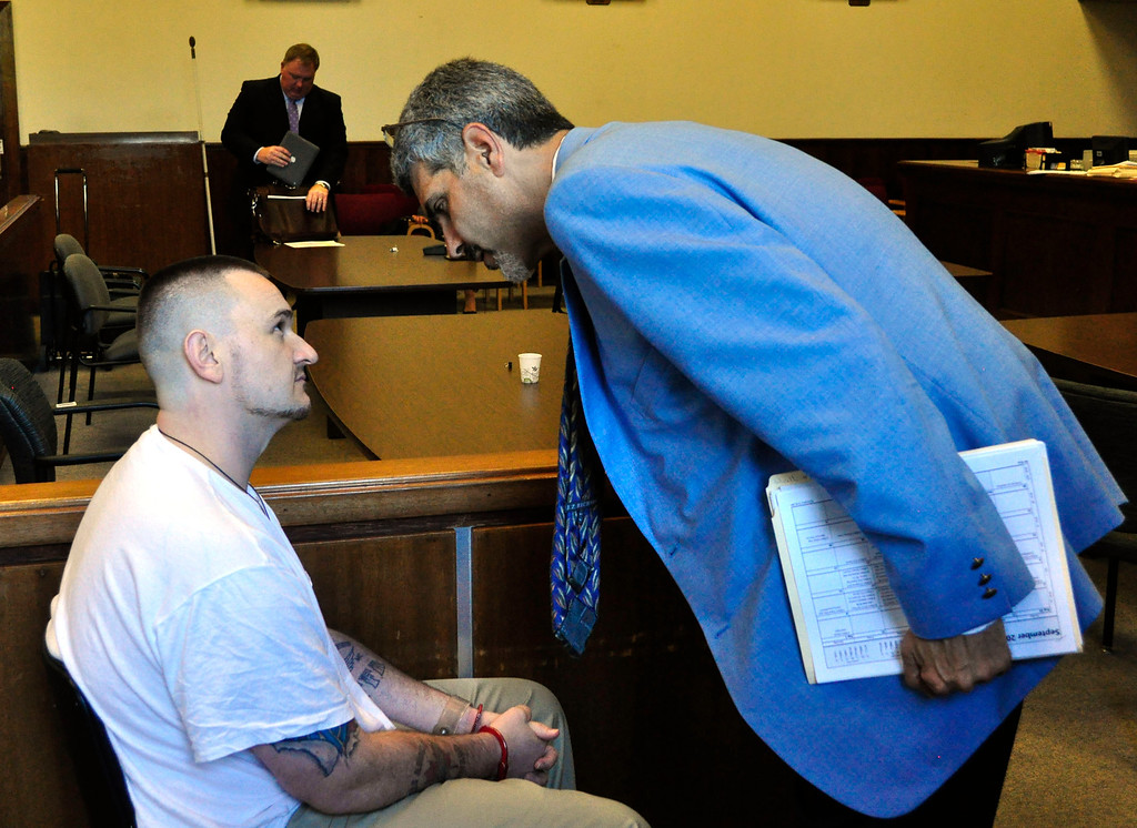 . Adam Lee Hall and Atty William Rota talk in Berkshire Superior Court Wed Sept 12, 2012 (GARVER)