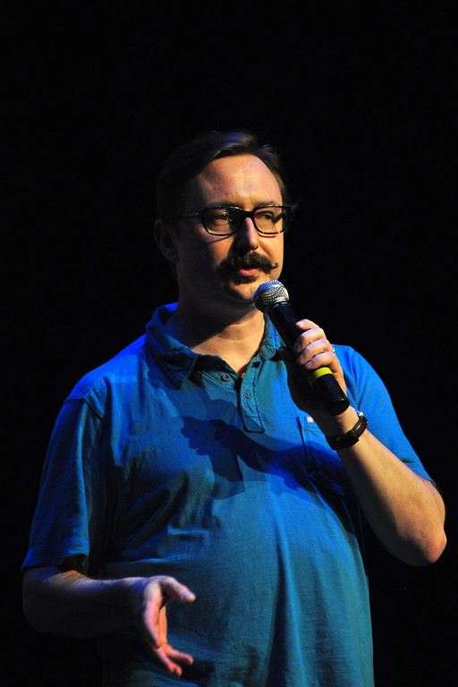 . Jack Guerino/ North Adams Transcript Comedian John Hodgman performs at the Solid Sound Festival Saturday during a comedy portion of the festival.