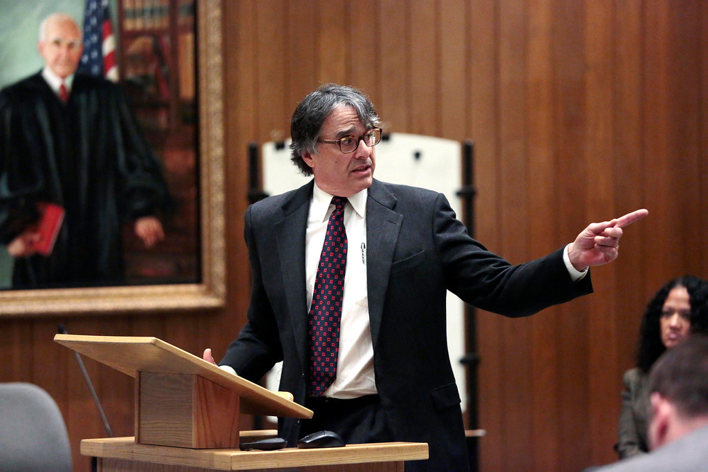 . Defendant David Chalue\'s lawyer, Donald W. Frank, gives his opening remarks in Hampden Superior Court during the first day of Chalue\'s trial in the slaying of three Pittsfield men in 2011 . Friday, April 25, 2014. Stephanie Zollshan / Berkshire Eagle Staff / photos.berkshireeagle.com