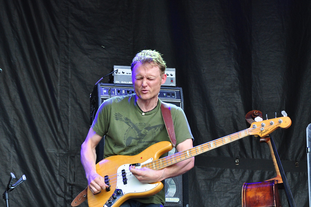 . Jack Guerino/ North Adams Transcript Chris Wood of Medeski Martin and Wood holds down a solid bass line for the last performance of the Solid Sound Festival Sunday.