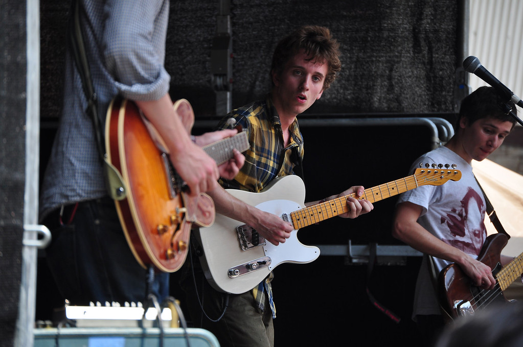 . Jack Guerino/ North Adams Transcript Henry Mosher fronts The Blisters Sunday afternoon during the last day of performances at the Solid Sound Festival.