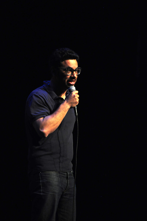 . Jack Guerino/ North Adams Transcript Comedian Al Madrigal performs at the Solid Sound Festival Saturday during a comedy portion of the festival.