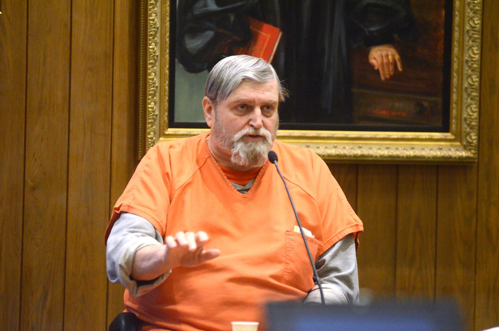 . David Casey testifies in the Adam Hall trial in Springfield on Wednesday, January, 22, 2014. Gillian Jones/Berkshire Eagle Staff