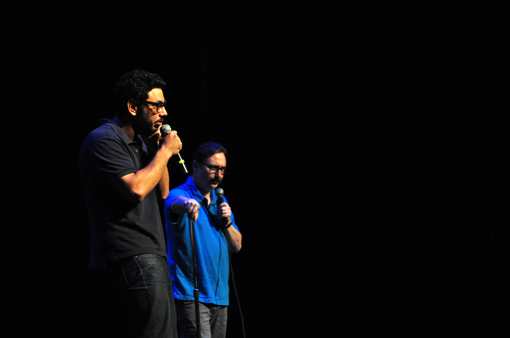 . Jack Guerino/ North Adams Transcript Al Madrigal performs alongside fellow comedian John Hodgman at the Solid Sound Festival Saturday during a comedy portion of the festival.
