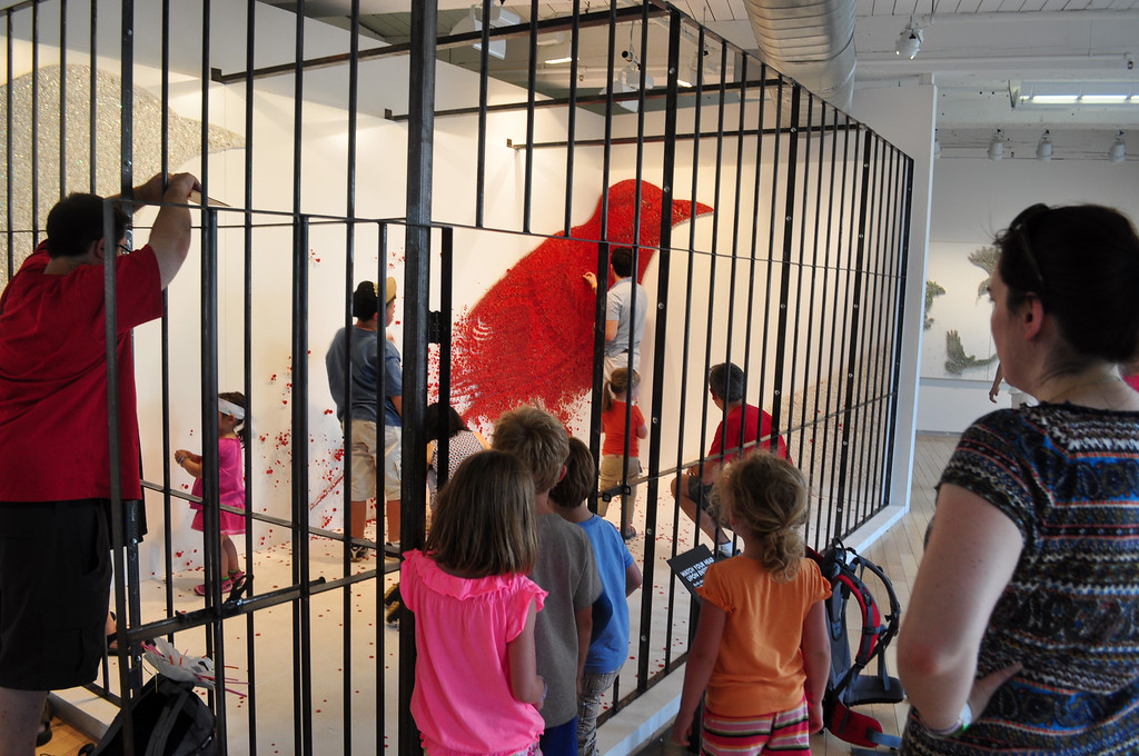 . Jack Guerino/ North Adams Transcript Kids play with interactive art in Kid�s Space at the Solid Sound Festival Saturday.