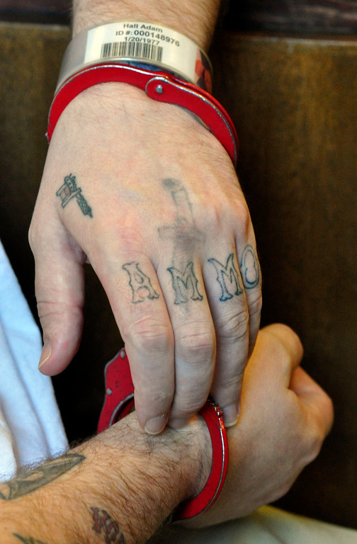 . Adam Lee Hall\'s hand tatoos.  Wed Sept 12, 2012 (GARVER)
