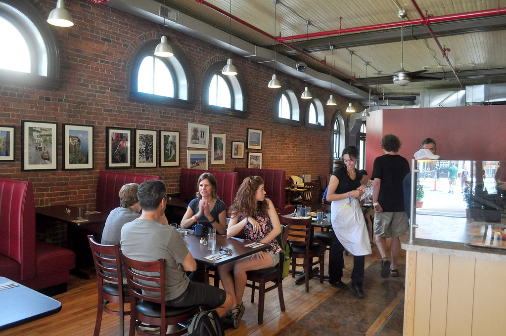 . Jack Guerino/ North Adams Transcript Concert goers have an early lunch at Mediterra on Main Street.