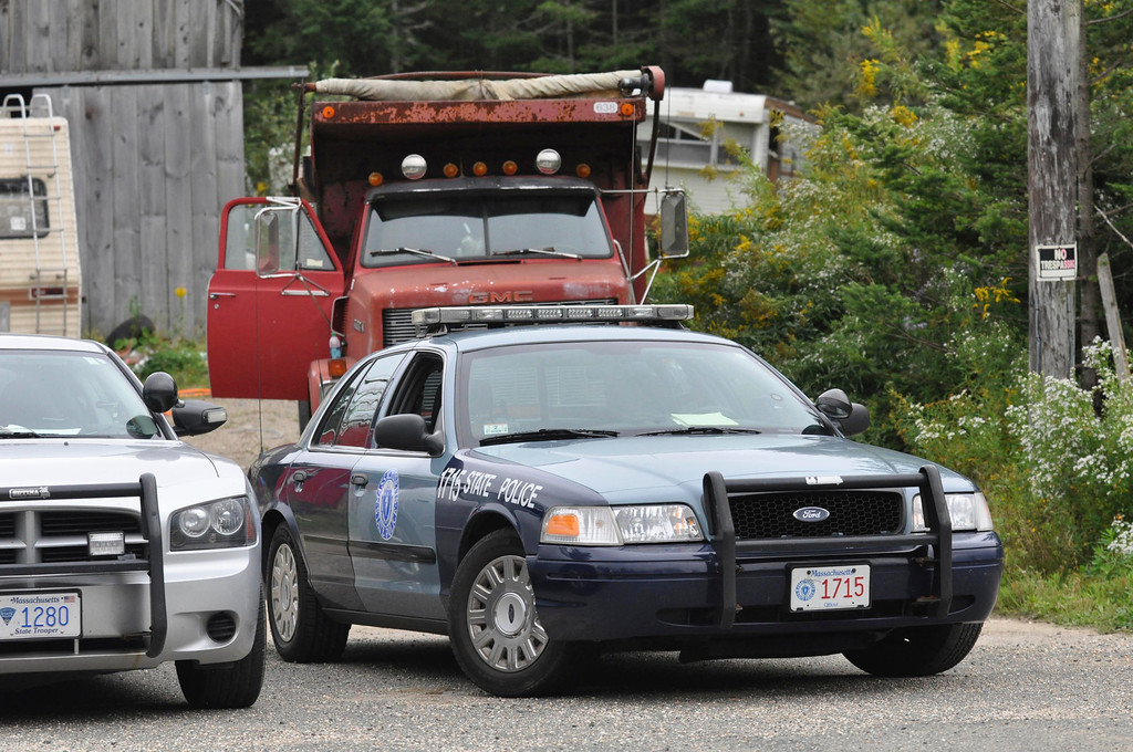 . Massachusetts State Police gaurd the entrance to the Peru property of Adam Lee Hall on Main Street.  Thursday Sept 15, 2011 (GARVER)