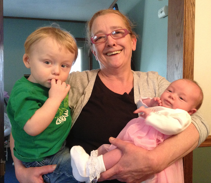 """. Blake, MeMe (Cherie) and Miranda. Nicole Haas writes, \""""A grandma\'s hands are never empty :)\"""" Photo submitted by Nicole Haas."""