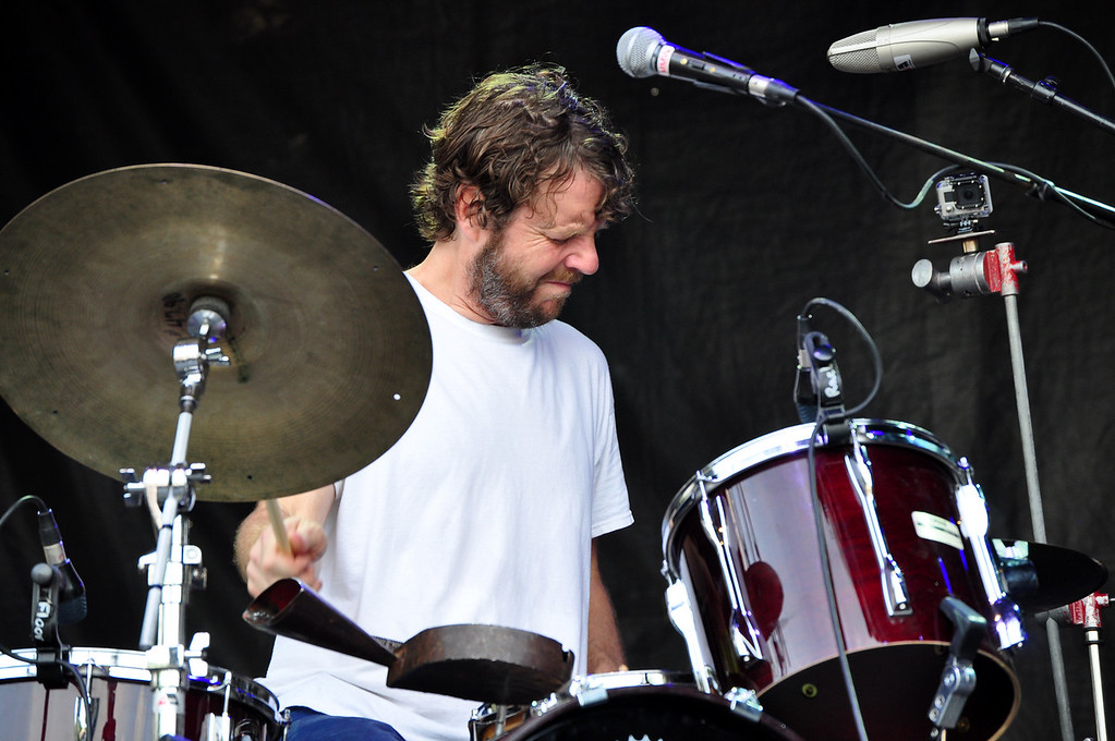 . Jack Guerino/ North Adams Transcript Billy Martin keeps the beat for Medeski Martin and Wood on the drums during the last performance of the Solid Sound Festival Sunday.